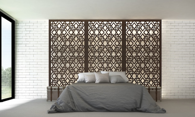 O interior do quarto e decoração de móveis e fundo branco padrão de parede