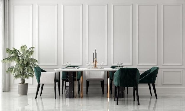 O interior e a simulação de decoração e design de sala de jantar e fundo de textura de parede branca