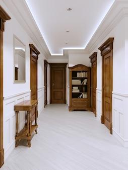O interior é um corredor de estilo clássico com paredes e painéis brancos e móveis e portas de madeira. renderização 3d.