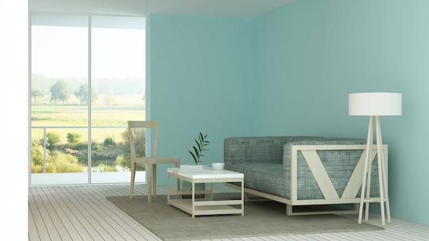 O interior hotel minimalista relaxar espaço renderização em 3d e vista para a natureza