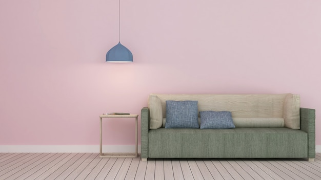 O interior hotel relaxar espaço 3d rendering-parede cor pastel