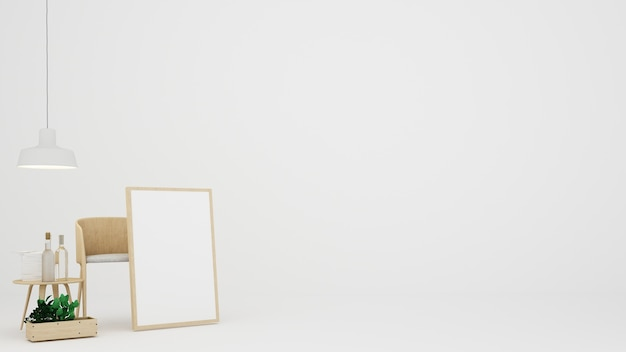 O interior minimalista sala de fundo branco em condomínio