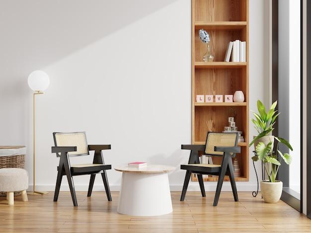 O interior moderno da sala de estar tem cadeira com mesa na parede branca e piso de madeira. renderização 3d