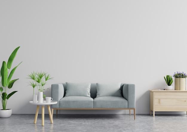 O interior moderno e acolhedor da sala de estar brilhante tem sofá e lâmpada com fundo branco da parede.