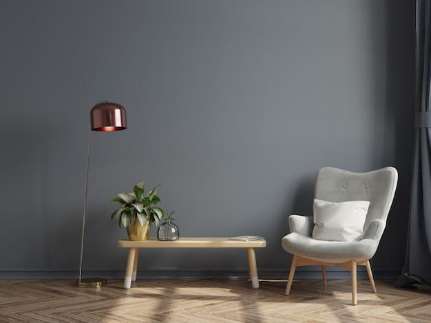 O interior moderno e luxuoso da sala de estar tem uma poltrona no fundo vazio da parede escura. renderização 3d