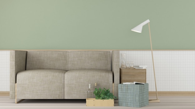 O interior relaxar espaço 3d conceito mínimo de renderização