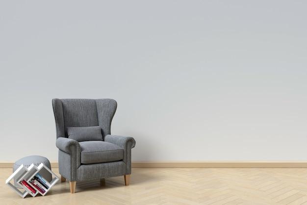 O interior tem um sofá e livro no fundo da parede branca