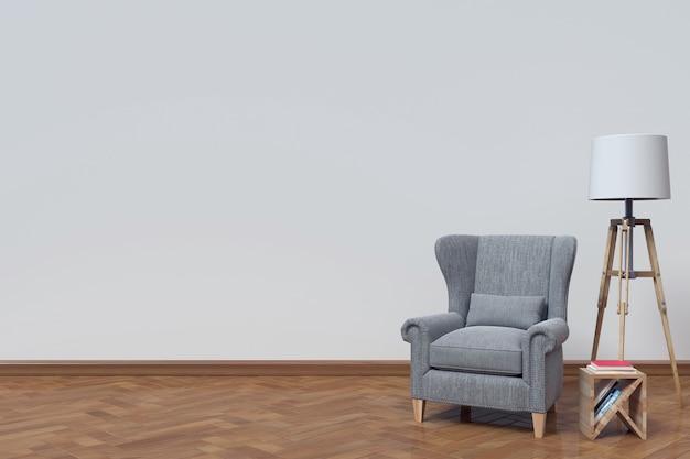 O interior tem um sofá e livro sobre fundo de parede branca, renderização em 3d