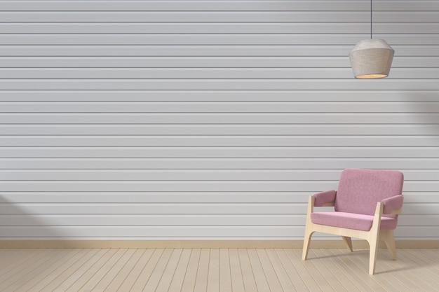 O interior tem um sofá rosa e pendurar a lâmpada no fundo da parede branca vazia,