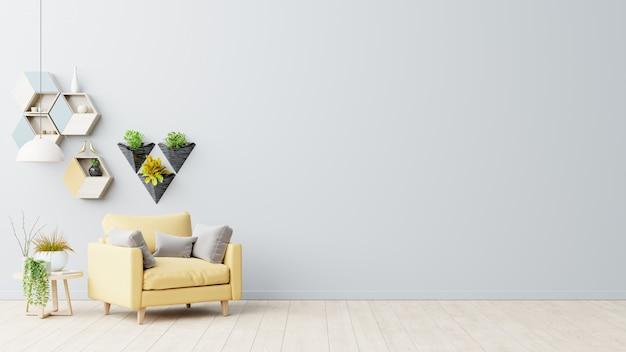O interior tem uma poltrona amarela no fundo da parede cinza vazia.
