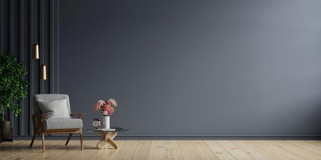 O interior tem uma poltrona em uma parede escura vazia, renderização em 3d