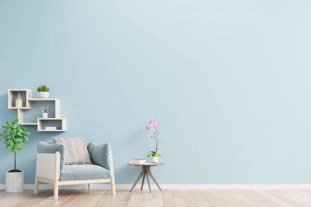O interior tem uma poltrona na parede azul vazia.