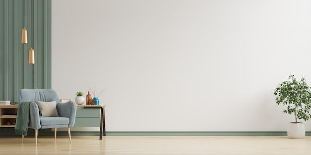 O interior tem uma poltrona na parede branca vazia, renderização em 3d