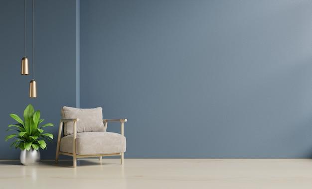 O interior tem uma poltrona no fundo da parede azul escuro vazio.