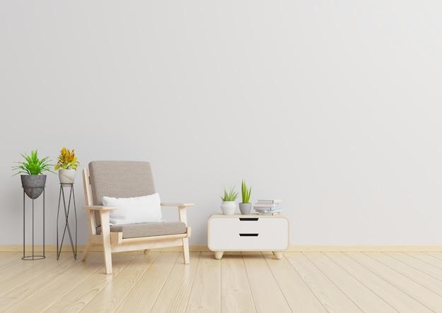 O interior tem uma poltrona no fundo da parede branca vazia, renderização em 3d, renderização em 3d