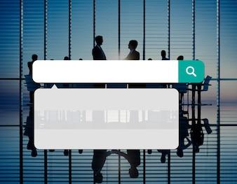 O Internet da tecnologia da caixa da busca consulta o conceito em linha da consultação