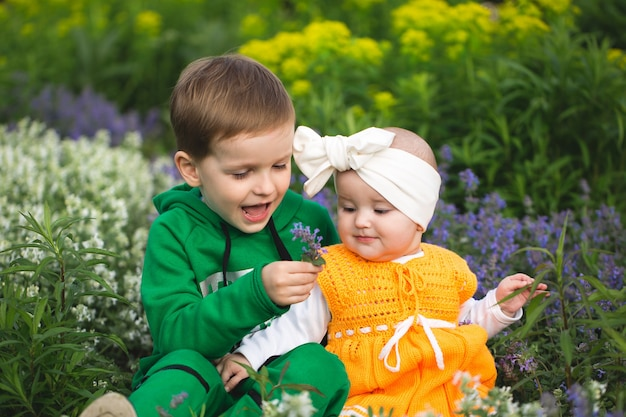 O irmão mais novo e o vento estão sentados no parque na grama entre as flores.