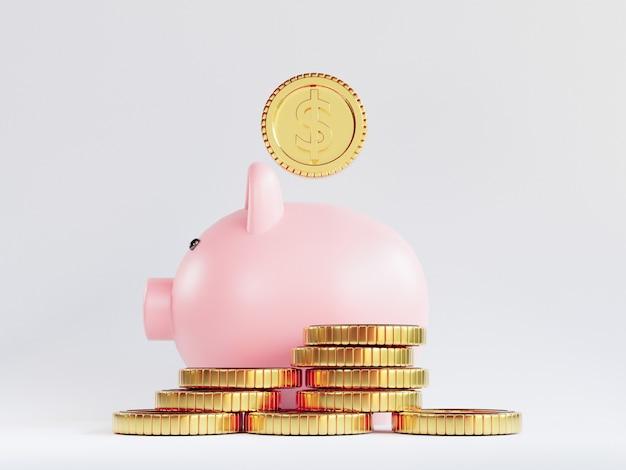 O isolamento de moedas de ouro do dólar americano empilhando-se com o cofrinho no fundo branco para o conceito de economia de investimento e depósito por 3d render.