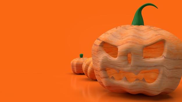 O jack o lantern e a abóbora em fundo laranja para renderização em 3d de conteúdo de halloween