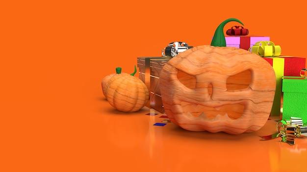 O jack o lantern e a caixa de presente em fundo laranja para renderização 3d de conteúdo de halloween