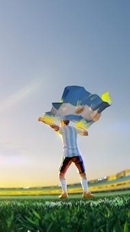 O jogador de futebol após o campeonato do jogo vencedor segura a bandeira da argentina. estilo de polígono