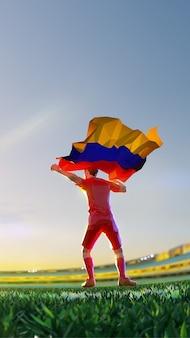 O jogador de futebol após o campeonato do jogo vencedor segura a bandeira da armênia. estilo de polígono