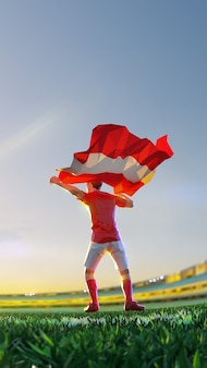 O jogador de futebol após o campeonato do jogo vencedor segura a bandeira da áustria. estilo de polígono