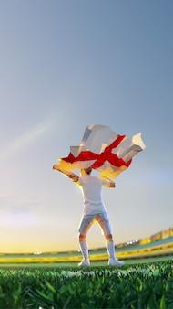 O jogador de futebol após o campeonato do jogo vencedor segura a bandeira da inglaterra. estilo de polígono