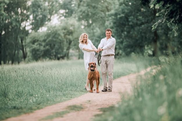O jovem marido e sua esposa se divertem com seu cachorro de estimação. o conceito de um estilo de vida saudável
