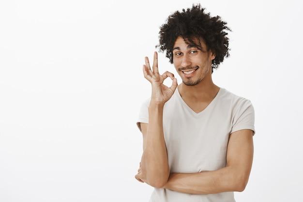 O jovem sorridente insolente diz sem problemas, muito bem. homem elogiar boa escolha e mostrando gesto de ok satisfeito
