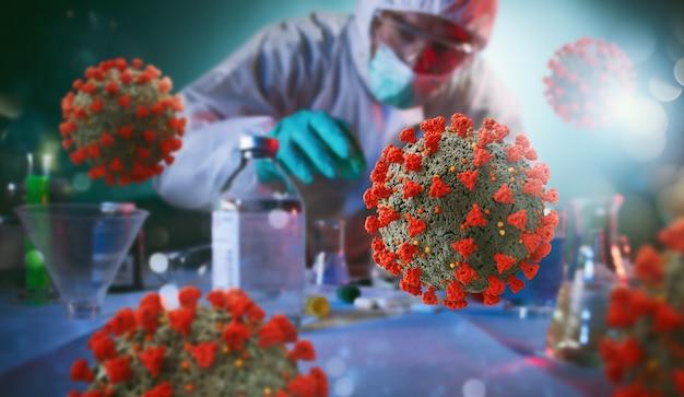 O laboratório de ciências médicas encontra uma solução para o coronavírus. conceito de pesquisa de vírus e bactérias