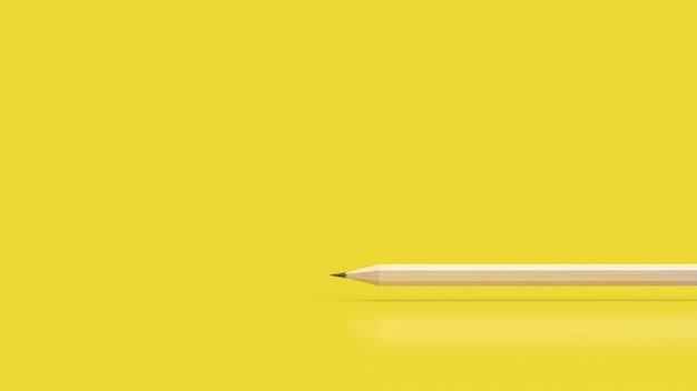 O lápis sobre fundo amarelo para educação ou conceito criativo renderização em 3d