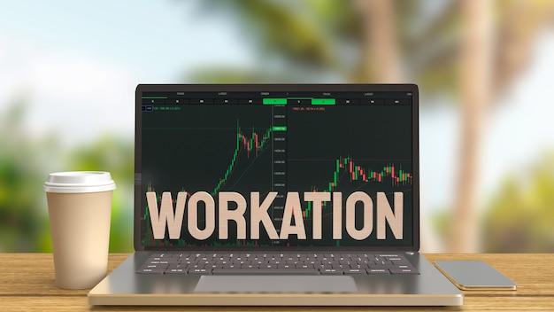 O laptop na mesa de madeira trabalhando ao ar livre para o conceito de trabalho, renderização em 3d