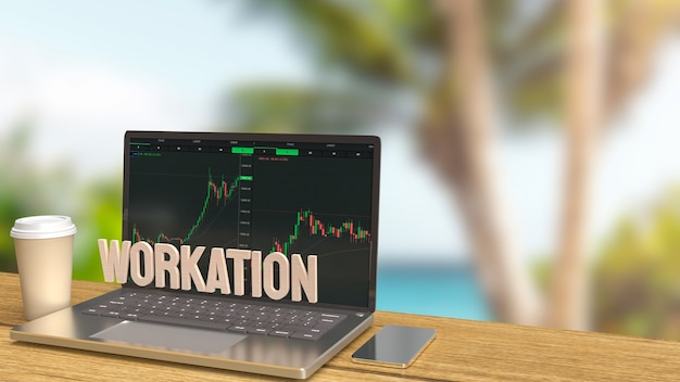 O laptop na mesa de madeira trabalhando ao ar livre para o conceito de trabalho renderização em 3d