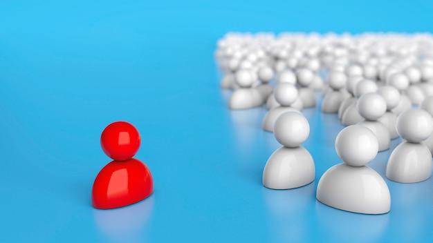 O líder vermelho e a multidão de funcionários comuns. renderização 3d.