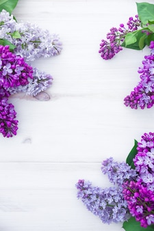 O lilás bonito na madeira