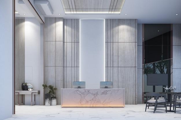 O lobby da área de espera de recepção com parede decora a galeria de vendas no piso de mármore branco e mesa com renderização 3d de cadeira