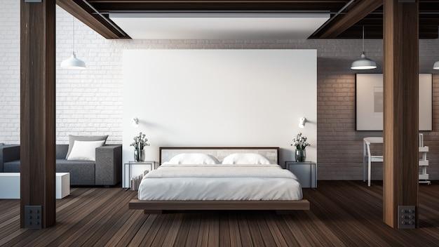 O loft e quarto moderno