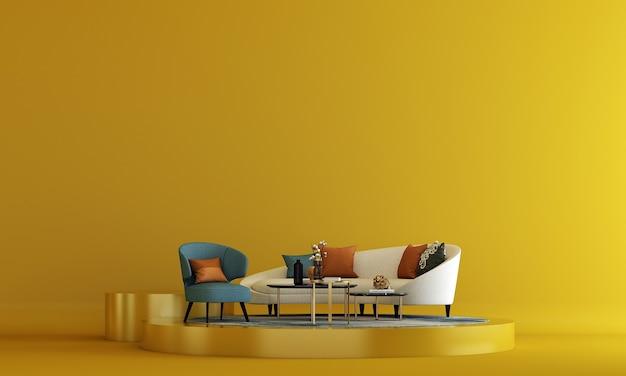 O luxuoso design da sala de estar e o fundo da parede com textura pintada de amarelo