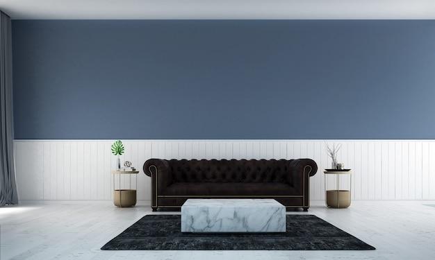 O luxuoso design minimalista da sala de estar e o fundo da parede com textura pintada de branco