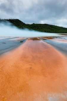 O mais famoso gêiser, grand prismetic geyser, em yellowstone