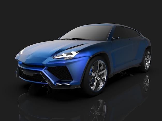 O mais novo crossover premium azul esportivo com tração nas quatro rodas em um estúdio preto com piso reflexivo