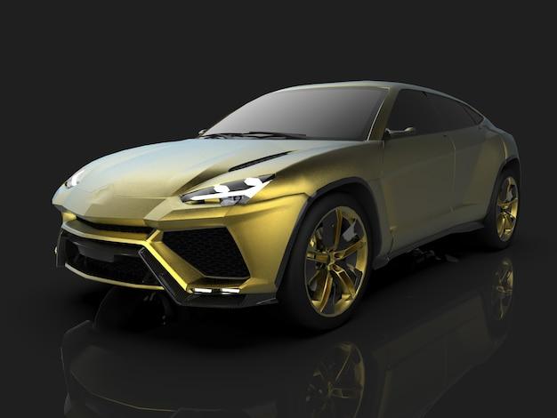 O mais novo crossover premium dourado com tração nas quatro rodas esportivas em um estúdio preto com piso refletivo. renderização 3d.
