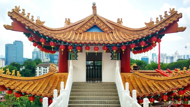 O majestoso templo chinês em estilo chinês tradicional.