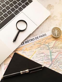 O mapa do metrô de paris