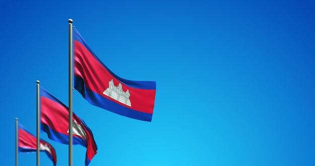 O mastro da bandeira 3d voando no camboja no céu azul