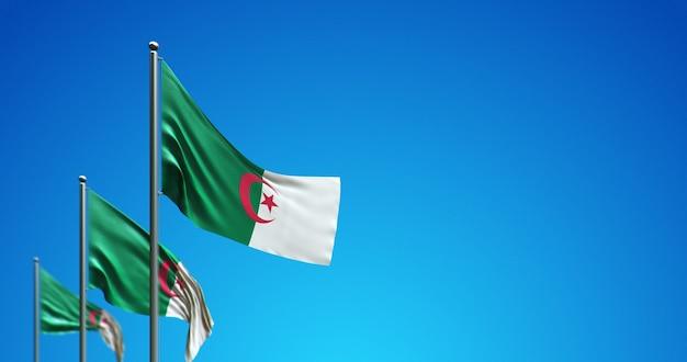 O mastro da bandeira 3d voando sobre a argélia no céu azul