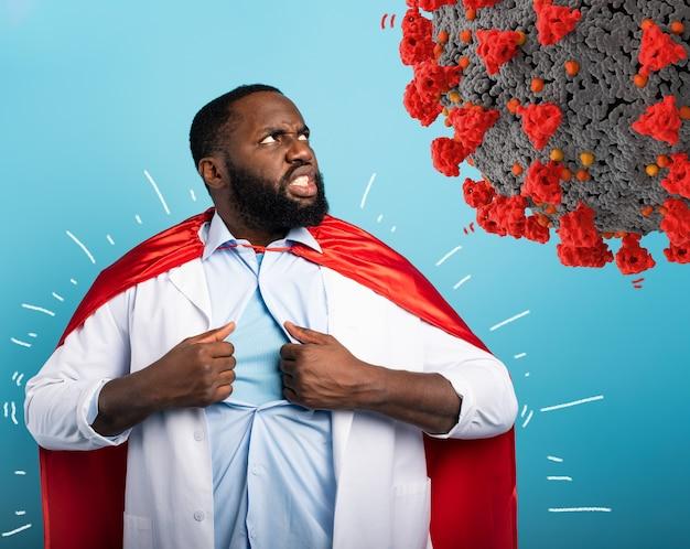 O médico age como um super-herói para lutar contra a pandemia de covid19