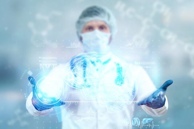 O médico examina o holograma do cérebro, verifica o resultado do teste na interface virtual e analisa os dados. doença de alzheimer, demência cerebral, tecnologias inovadoras, medicina do futuro.