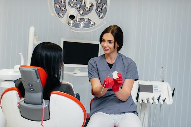 O médico mostra um molde da mandíbula do paciente. odontologia.